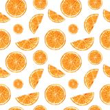 Citrusvruchten naadloos patroon dat van sinaasappelenplakken wordt gemaakt Hand getrokken waterverfillustratie royalty-vrije illustratie