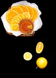 Citrusvruchten op zwarte Royalty-vrije Stock Foto's