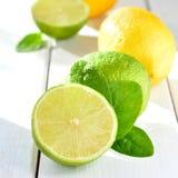 Citrusvruchtenkalk en citroen op een witte lijst Royalty-vrije Stock Afbeelding