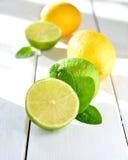 Citrusvruchtenkalk en citroen op een witte lijst Royalty-vrije Stock Fotografie