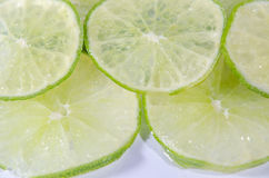Citrusvruchtenkalk op witte achtergrond Stock Foto
