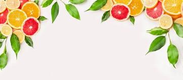 Citrusvruchtenplak met groene bladeren op witte houten achtergrond, banner