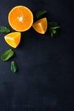 Citrusvruchtenplakken en muntkruiden Stock Fotografie