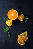 Citrusvruchtenplakken en muntkruiden Royalty-vrije Stock Afbeelding