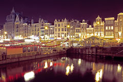 Citsycsenic from Amsterdam in the Netherlands by night Royalty Free Stock Photo