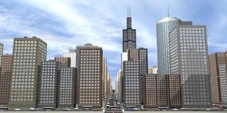città 3D Fotografia Stock Libera da Diritti