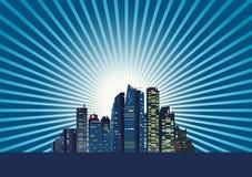 Città ad alba Fotografie Stock Libere da Diritti