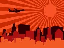 Città, aeroplano e sole illustrazione di stock