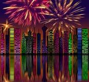 Città alla notte. Fuochi d'artificio sul cielo. Buon anno illustrazione vettoriale