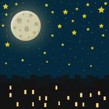 Città alla notte Illustrazione di vettore Fotografie Stock