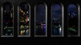 Città alla notte & a x28; Melbourne& x29; Fotografia Stock