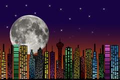 Città alla notte. Siluetta delle costruzioni. illustrazione vettoriale