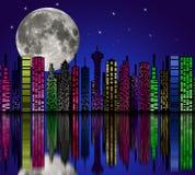 Città alla notte. Siluetta delle costruzioni. illustrazione di stock