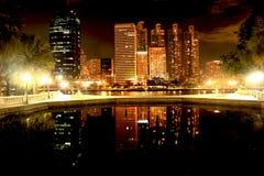 Città alla notte, Tailandia di Bangkok Fotografia Stock