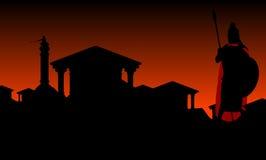 Città antica con il guardiano Fotografie Stock