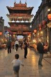 Città antica di Ping Yao alla notte Fotografia Stock