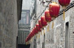 Città antica di Suzhou con la lanterna rossa tradizionale Fotografia Stock Libera da Diritti