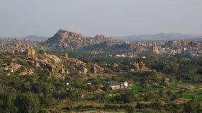 Città antica Hampi e montagne del granito Fotografia Stock Libera da Diritti