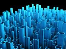 Città astratta binaria, priorità bassa di tecnologia 3d Fotografia Stock