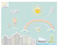Città astratta con i personaggi dei cartoni animati illustrazione di stock