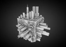 Città astratta del cubo Fotografia Stock Libera da Diritti