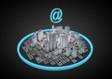 Città astratta del Internet Fotografia Stock