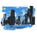 Città astratta del paesaggio di Chicago che caratterizza la torre di Hancock illustrazione vettoriale