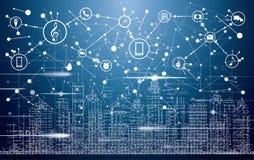 Città astuta con le costruzioni, le reti e Internet al neon delle cose royalty illustrazione gratis