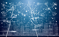 Città astuta con le costruzioni, le reti e Internet al neon delle cose illustrazione di stock