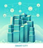 Città astuta Paesaggio urbano con gli elementi e l'icona infographic astuti Città moderna tecnologica di futuro illustrazione di stock