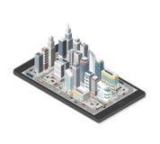 Città astuta su uno smartphone illustrazione di stock