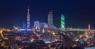 Città Batumi di notte di panorama Fotografie Stock