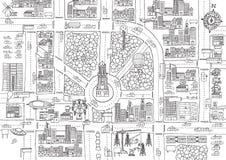 Città in bianco e nero del fumetto per coloritura adulta Fotografie Stock Libere da Diritti