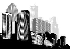 Città in bianco e nero di panorama illustrazione vettoriale