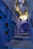 Città blu di Chefchaouen alla notte, Marocco Fotografie Stock Libere da Diritti