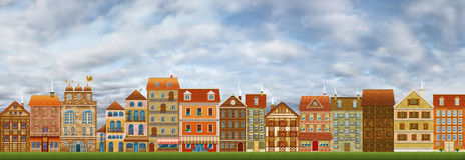 Città, cartolina d'auguri o illustrazione. Computer grafica. illustrazione di stock