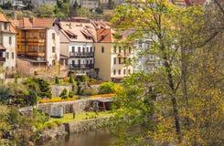 Città ceca provinciale d'annata Primavera nella città Immagine Stock Libera da Diritti