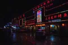 Città cinese di notte, via con la pubblicità Immagine Stock Libera da Diritti