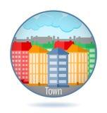Città colorata nel telaio del cerchio illustrazione vettoriale
