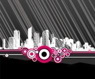 Città con i cerchi dentellare. Vettore illustrazione vettoriale