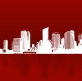 Città con la riflessione. Vettore Fotografie Stock Libere da Diritti