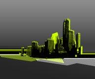 Città con la siluetta verde Immagine Stock
