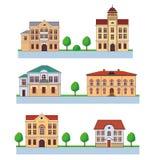 Città con le Camere variopinte Reticolo senza giunte Illustrazione del fumetto di vettore su un fondo verde Città e campagna Fotografia Stock