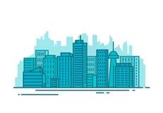 Città con le costruzioni illustrazione di stock