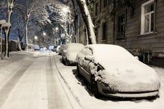 Città crepuscolare di Leopoli di inverno, Ucraina fotografia stock libera da diritti