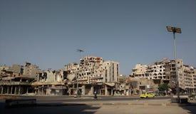 Città dei homs dopo la guerra immagini stock