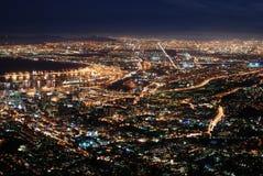Città del Capo alla notte Fotografia Stock
