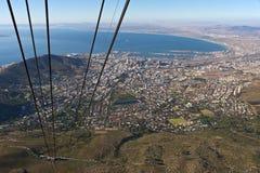 Città del Capo veduta dalla cabina di funivia della montagna della Tabella fotografia stock libera da diritti