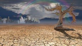 Città del deserto nella distanza immagine stock