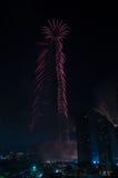 Città del Dubai dei fuochi d'artificio e Burj Khalifa Immagine Stock